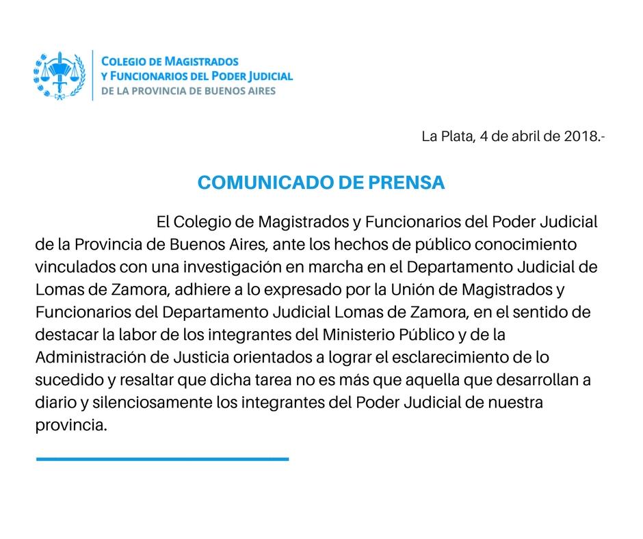 COMUNICADO DE PRENSA - Colegio de Magistrados y Funcionarios del Poder Judicial de la Provincia de Buenos Aires