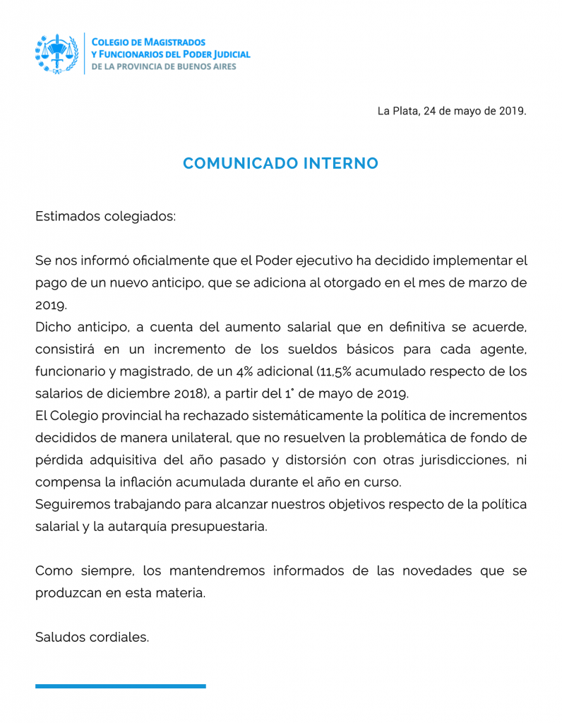 Comunicado interno 24.05.19